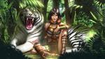 Обои Kiera / Кира сидит с белым тигром в джунглях, by Zamberz