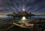 Обои Лодка на берегу, Uunisaari by Night, Helsinki, Finland / Уунисаари ночью, Хельсинки, Финляндия, фотограф Richard Beresford Harris