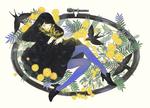 Обои Девушка в черном платье, в синих чулках, с мимозой в руке, в окружении ласточек, by naga-no