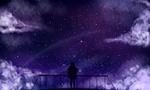 Обои Силуэт девушки смотрящая на звездное небо, by Keiowo