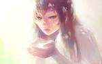 Обои Длинноволосая девушка на светлом фоне, by SaiKayden