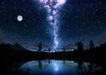 Обои Мельница на берегу озера на фоне ночного неба и млечного пути