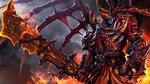 Обои Демон Doom / Дум - герой игры Дота 2 / Dota 2 стоит среди огня с мечом