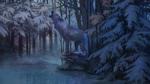 Обои Воющий волк в лесу, by Aivoree