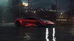 Обои Бордовый Lamborghini Murcielago / Ламборджини Мурселаго на площадке ночного города после дождя