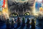 Обои Серый кот смотрит на игрущечных ниндзя, из мультфильма The LEGO Ninjago / ЛЕГО Ниндзяго