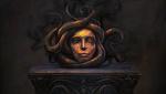 Обои Голова окаменевшей Медузы-Гаргоны со змеями на постаменте