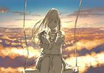 Обои Девушка, сидящая на качелях на фоне закатного неба, протягивает руки