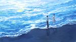 Обои Девушка и парень на морском берегу