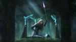Обои Девушка в доспехах и с копьем стоит на коленях перед могилой воина, ее окружают ожившие статуэтки ангелов