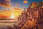 Обои Маяк на краю утеса в осеннем свете уходящего в закат солнца, волнующегося моря и криках парящих чаек, by annewipf