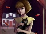 Обои Девушка с кошкой на руках, by Polina Chelyadinova