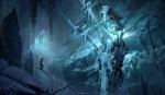 Обои Девушка пробирается на фантастическом обледенелом корабле, покрытом огромными сосульками, Tomb Raider / Расхитительница гробниц