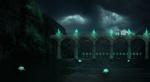 Обои Secret Passage / Тайный проход, на котором стоит человек в мантии, среди ночи, на фоне природы, by xLocky