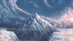 Обои Зимняя гора на фоне неба с облаками, by TomTC
