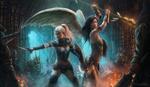 Обои Битва девушки-ангела и девушки-воина против монстров, by Jorsch
