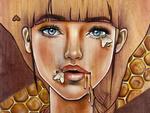Обои Портрет девушки с мотыльками на лице, by LindoArt