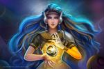 Обои Кибердевушка, с помощью магии, держит фантастический предмет между ладоней, из игры Overwatch / Дозор, by TinyTruc