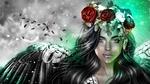 Обои Девушка с розами на голове