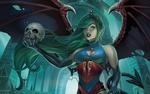Обои Девушка с огромными крыльями держит в руке череп