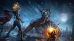 Обои Девушка с кинжалом стоит на крыше собора Oriath перед демоном, арт к игре Path of Exile / Путь изгнания, by Jorsch