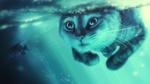Обои Кот под водой