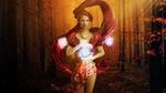 Обои Рыжеволосая девушка стоит в осеннем лесу с магическими кристаллами, парящими в воздухе, by darksouls1