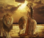 Обои Девушка среди львов, by WikiMia