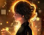 Обои Плачущая девушка в профиль со свечением и звездами, художник Yujin Jung