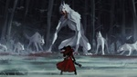 Обои Человек в красном сражается с огромными волками-монстрами, by Remarin