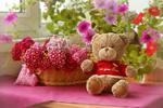 Обои Бежевый мишка Тедди сидит рядом с цветами гвоздики в корзине и петуньи возле окна