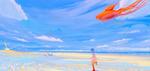Обои Девочка с рыбкой-шариком на привязи бежит по морскому берегу, by Hangmoon