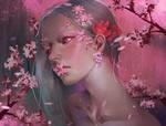 Обои Девушка - весна окружена весенними цветами, by J JP