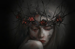Обои Девушка с в венке с розами и ветками, by Midfinger