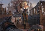 Обои Девушка-пират стоит на палубе парусника рядом с драконом в броне, арт к игре Time of Dragons / Драконы Вечности, by Kuzinskiy