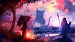 Обои Девушка с зонтом и жрец, держащий черную кошку, смотрят на огромную кошку напротив, by ryky
