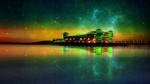 Обои Звездная ночь над Grand Pier, Weston-super-Mare, England / Большым Пирсом, Уэстон-супер-мэйр, Англия