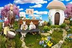 Обои Семейство кроликов, расположившись перед грибным домиком, празднует пасху в окружении цветочных клумб, на фоне облачного неба, by Gerhard Gellinger