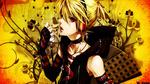 Обои Vocaloid Kagamine Len / вокалоид Кагамине Лен в наушниках и с микрофоном, by Rinoshi