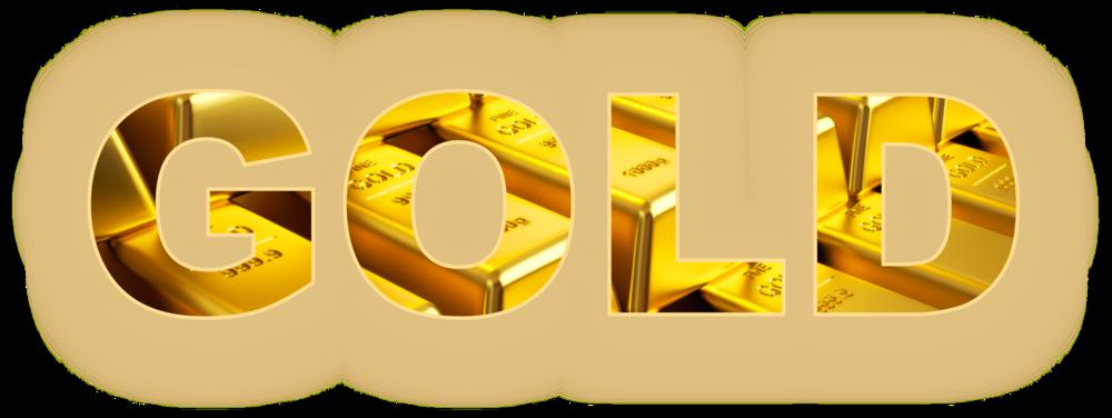 Обои для рабочего стола Составленное из золотых слитков слово GOLD / ЗОЛОТО, на размытом фоне, by Greg Reese