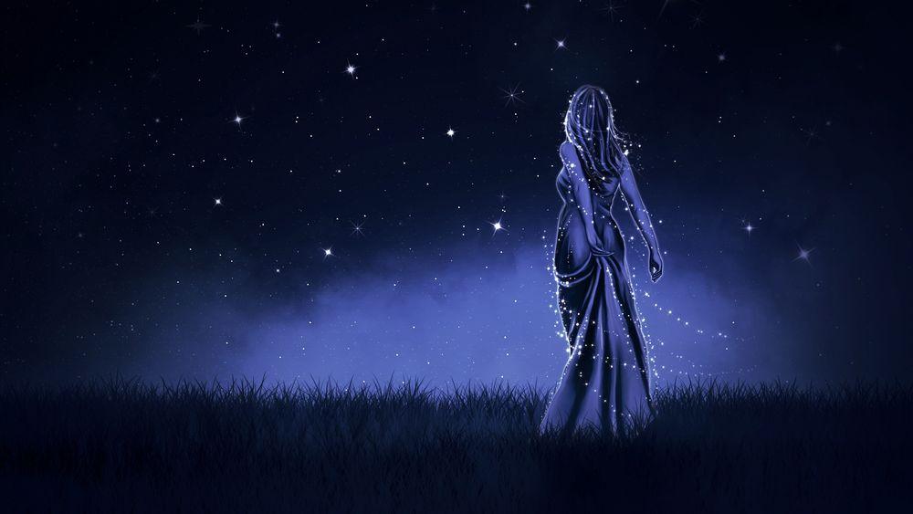 Картинки по запросу Звездная ночь девушка