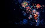 Обои Девочка Mira / Мира с игрушечным медвежонком на фоне ночного неба и абстракцией в виде цветов, by Wei Wang
