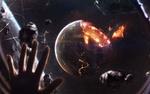 Обои Рука человека на фоне взрыва планеты, апокалипсис в космосе, уничтожающий космический объект, фотограф Vadim Sadovski