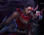 Обои Diana / Диана с магическим знаком на лбу и маской демона у лица, из игры League of Legends / Лига Легенд, by vahid ahmadi