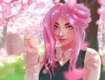 Обои Розоволосая деваушка с кружкой под цветущей сакурой, by Koizu-kun