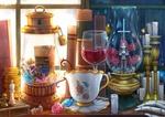 Обои Два чибика заперты в стеклянных лампах, стоящих на столе среди книг, свечей, монет, шахмат и бокала вина