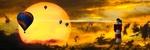 Обои Самолет, кружащий вокруг маяка, воздушные шары в небе, на фоне громадного диска заходящего солнца, фантасмагория, by Gerhard Gellinger