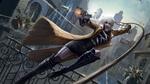 Обои Шарлиз Терон / Charlize Theron в роли агента Лоррейн Бротон из фильма Взрывная Блондинка / Atomic Blonde в прыжке орудует кнутом и стреляет из пистолета