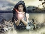 Обои Девушка стоит среди волков с яблоком, горящим магическим пламенем, by darksouls1