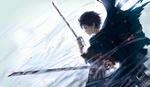 Обои Eren Yeager / Эрен Джагер стоит с окровавленными клинками из аниме Shingeki no Kyojin / Вторжение гигантов